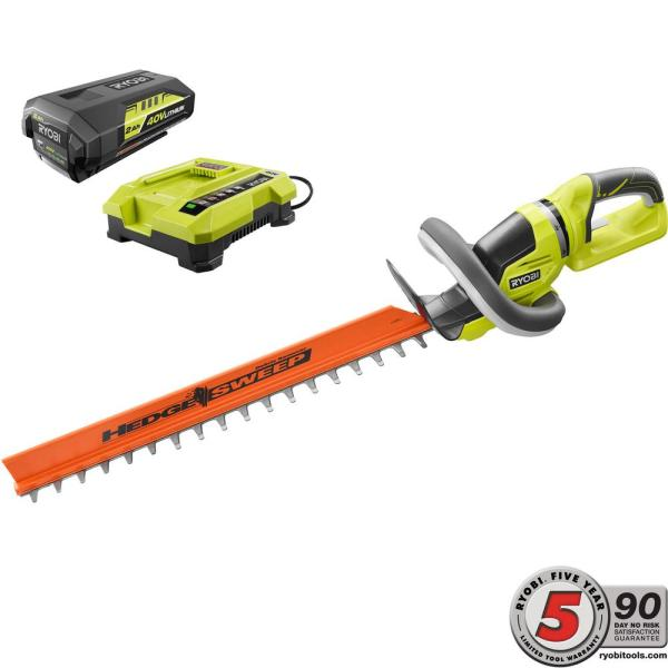 Ryobi 24 In. 40-volt Lithium-ion Cordless Hedge Trimmer With 2 Ah Battery And Charger Included