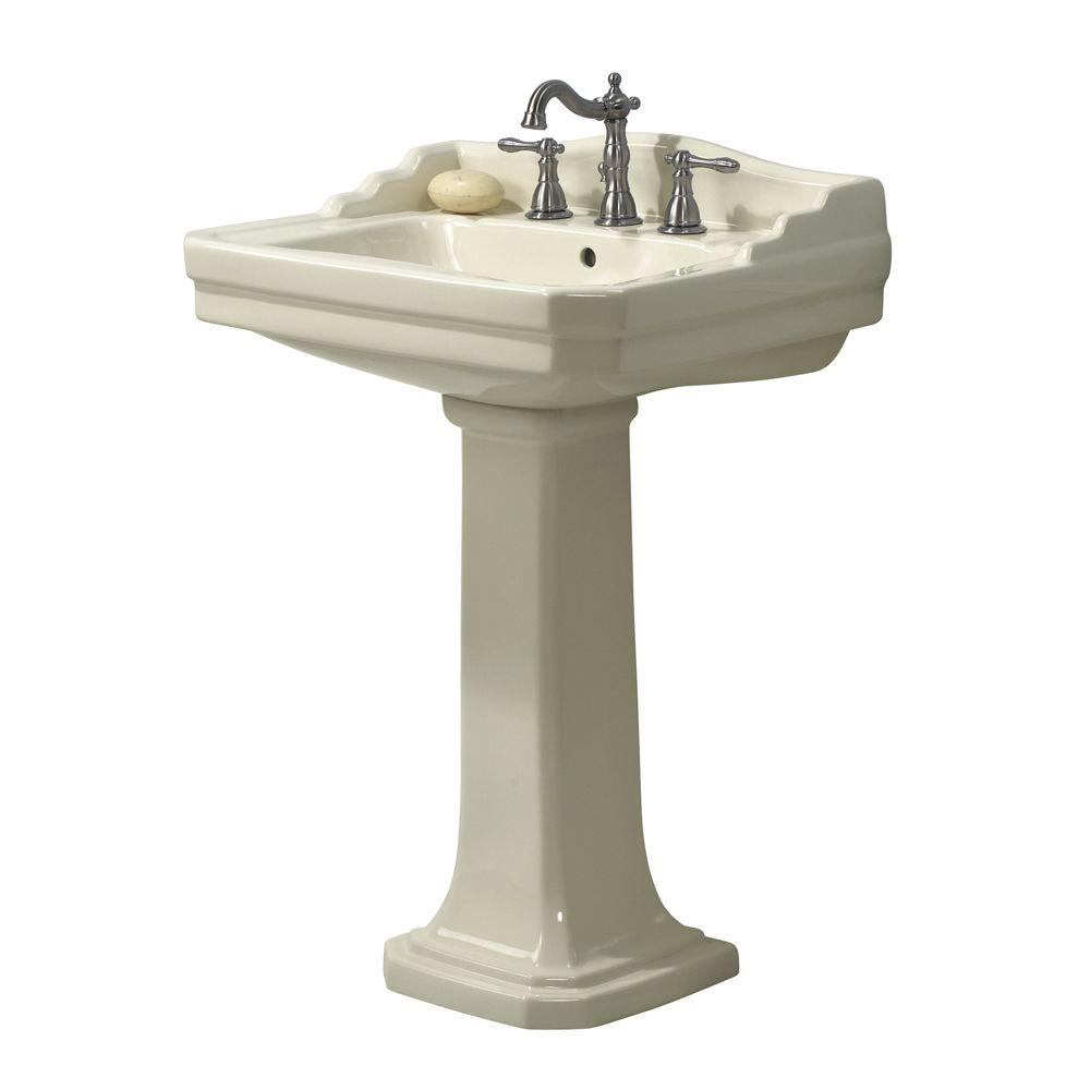 Foremost Series 1930 Lavatory and Pedestal Combo in BiscuitFL19308BI  The Home Depot