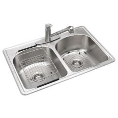 Ss Kitchen Sinks Certified Designer Glacier Bay All In One Drop Stainless Steel 33 3 Hole Double