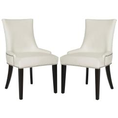 Safavieh Dining Chairs Chair Covers And Bows South Wales Lester White Leather Espresso 19 In H Set Of 2
