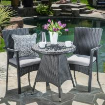 Noble House Gray 3-piece Wicker Outdoor Dining Set