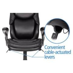 Ergonomic Chair Levers Pads Under Legs Serta Wellness By Design Black Bonded Leather Mid Back Office 6