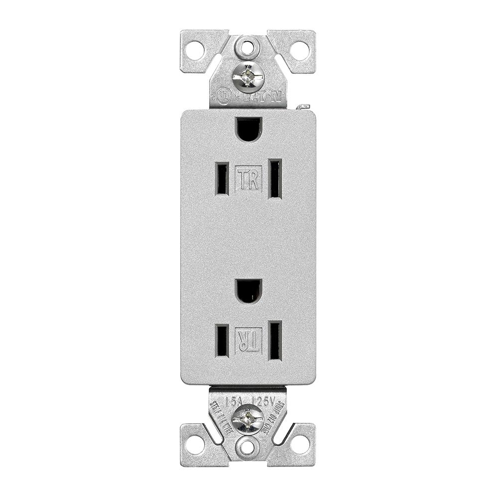 medium resolution of eaton designer duplex receptacle silver granite tr1107sg sp l the wiring devices 20amp 125volt silver granite gfci decorator outlet