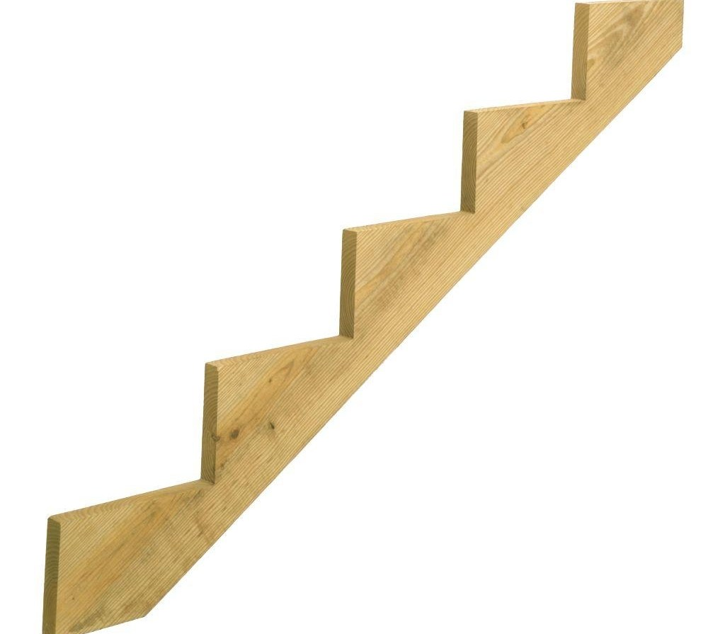 5 Step Ground Contact Pressure Treated Pine Stair Stringer 368912 | Pre Built Wood Stairs | Exterior | Landing | Free Standing | Lvl | Basement