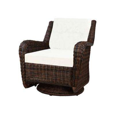 wicker swivel patio chair throw on chairs furniture the home depot cambridge brown outdoor rocking with cushions included choose your own color