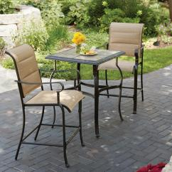 Bistro Tables And Chairs Chair Sit Ups Sets Patio Dining Furniture The Home Depot Belleville 3 Piece Padded Sling Outdoor Set
