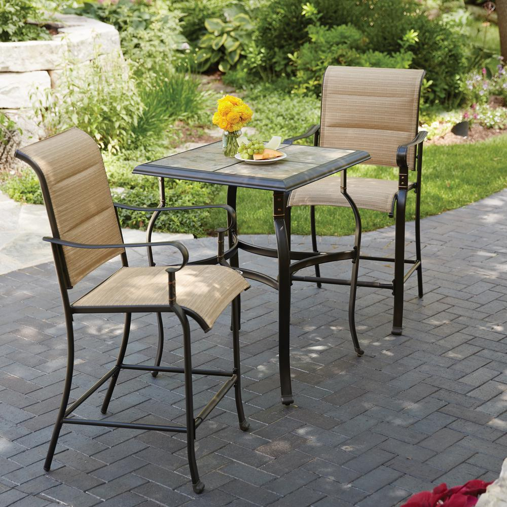 Metal Bistro Table And Chairs Details About Hampton Bay Belleville 3 Piece Padded Sling Outdoor Bistro Set Garden Table Home