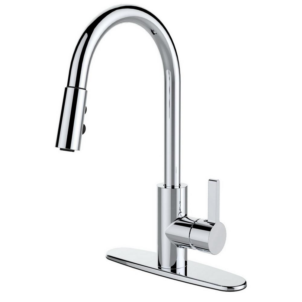 single kitchen faucet rustic island light fixtures runfine handle pull down sprayer in chrome