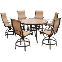 Hanover Monaco 7-Piece Outdoor Bar H8 Dining Set with ...