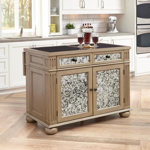 Home Styles Visions Silver & Gold Champagne Kitchen Island With Granite Top-5576-94g