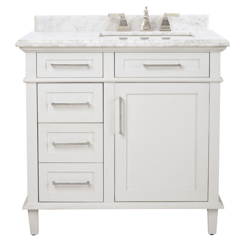Home Decorators Collection Sonoma 36 in W x 22 in D Bath Vanity in White with Carrara Marble