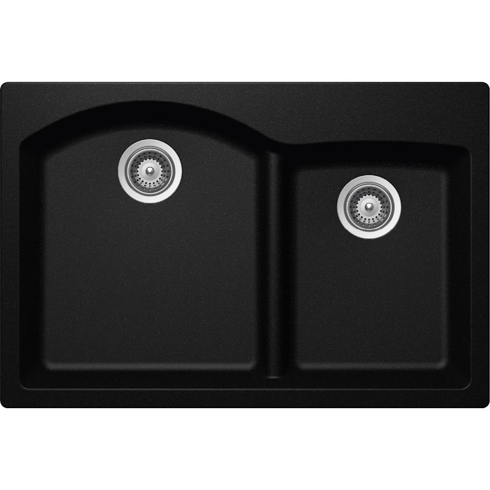black sink kitchen delta faucet hose replacement elkay by schock drop in undermount quartz composite 33 rounded offset double bowl