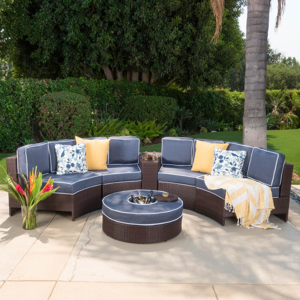 noble house brown 6 piece wicker outdoor sectional and ottoman set with navy blue cushions 10975 the home depot