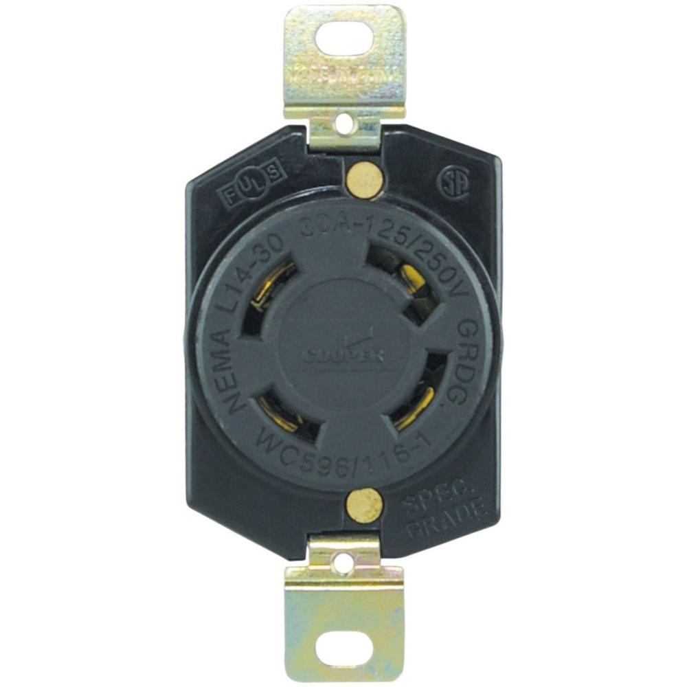 hight resolution of eaton 30 amp 125 250 volt hart lock industrial grade receptacle shop cooper wiring devices 125 250volt 30amp black locking locking