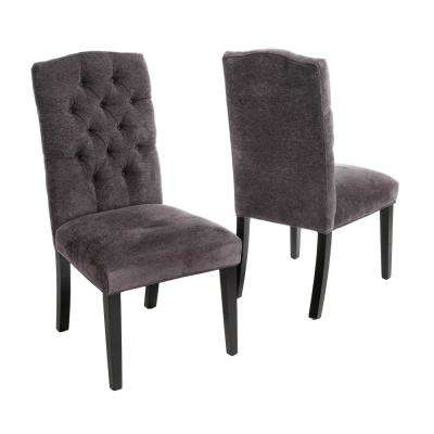 gray dining chair workout ball chairs kitchen room furniture the home depot crown dark grey linen set of 2