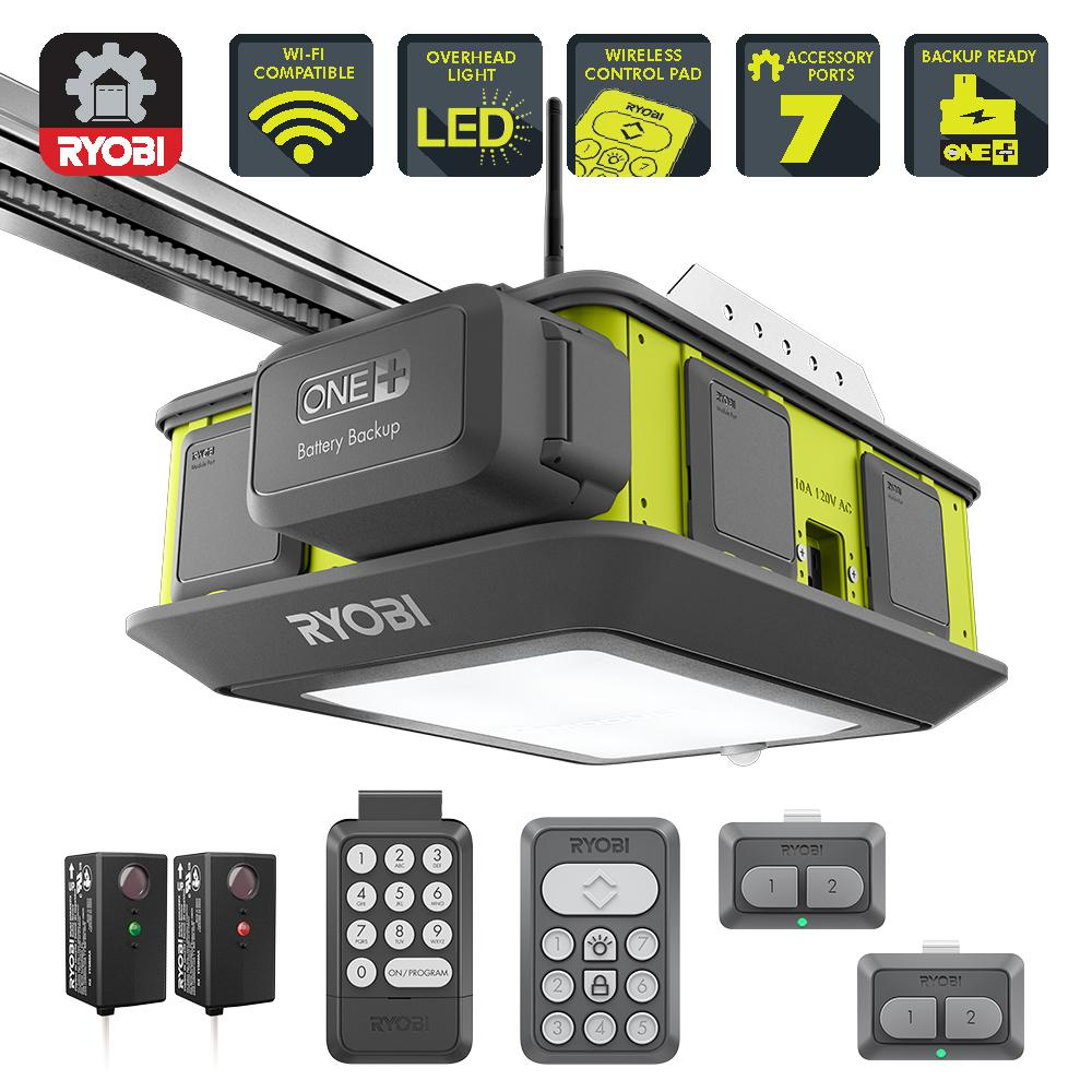 RYOBI UltraQuiet 2 HP Belt Drive Garage Door Opener with Battery Backup CapabilityGD201  The