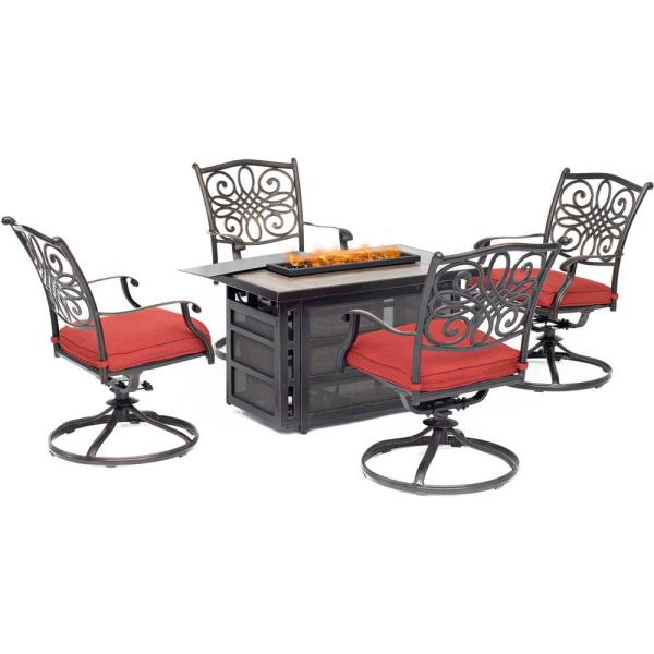 Hanover Traditions 5-piece Aluminum Patio Seating Set With Autumn Berry Cushions Fire Pit Table