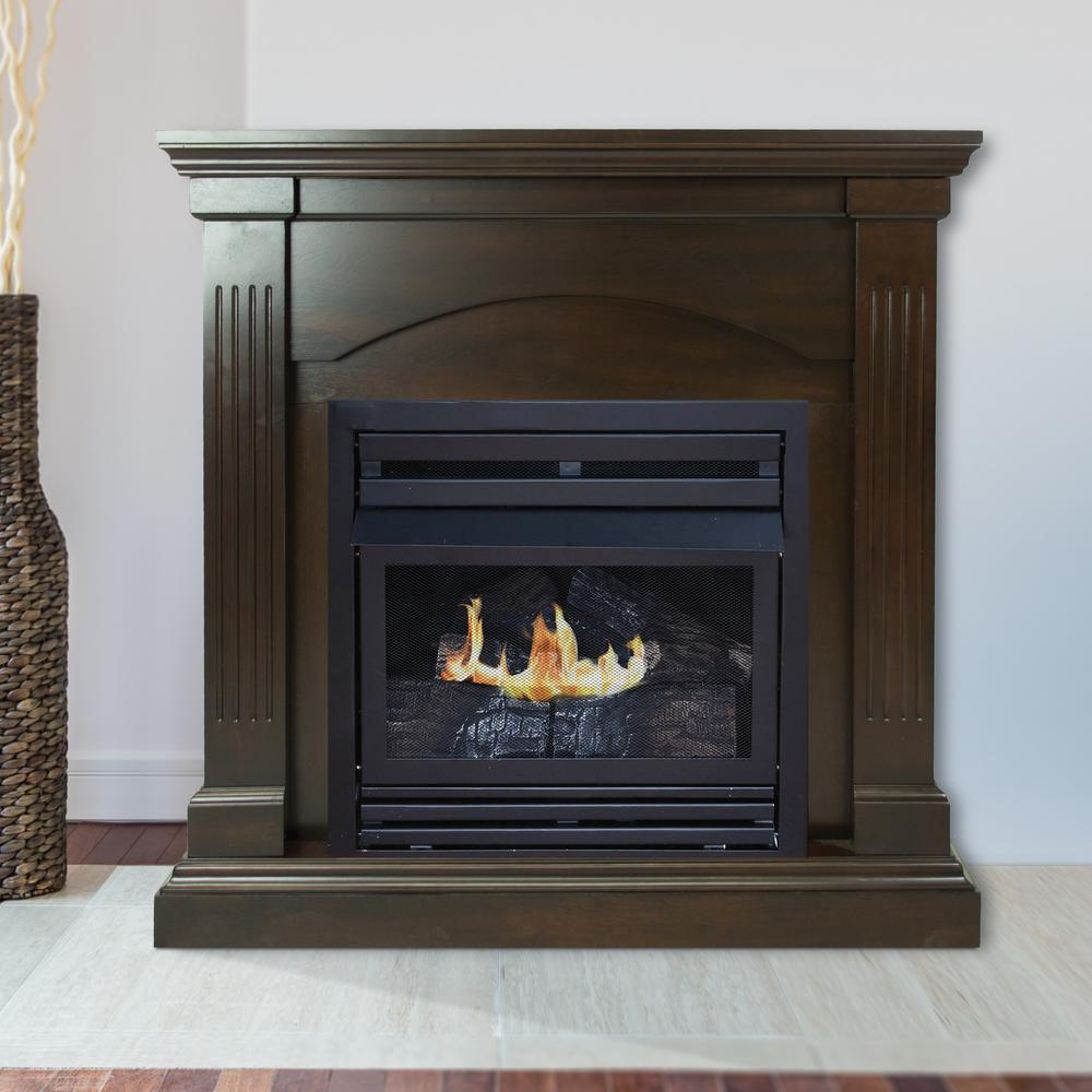 Pleasant Hearth 35 in Convertible VentFree Dual Fuel Fireplace in TobaccoVFFPHCPD2T  The