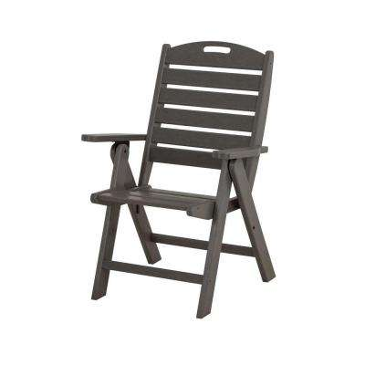high back chair patio furniture positions on love plastic 25 75 in chairs the home depot nautical highback slate grey outdoor dining