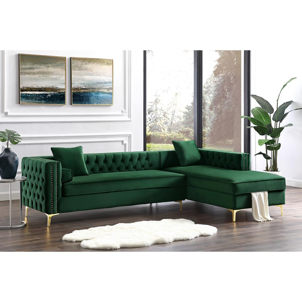 inspired home olivia hunter green silver gold velvet 4 seater l shaped right facing sectional sofa with nailheads sr01 02hg hd the home depot