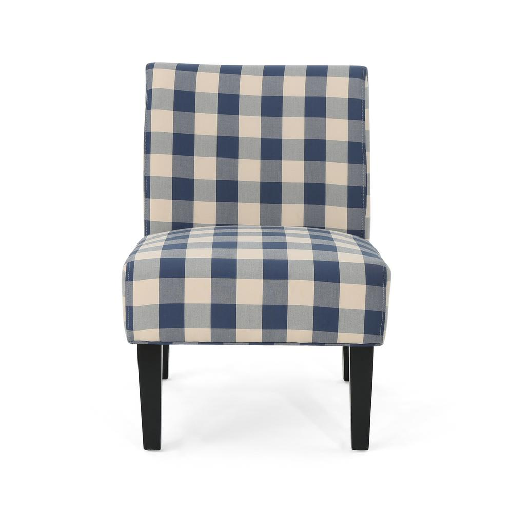 blue pattern accent chair stakmore folding chairs antique noble house aberjona farmhouse and white checkerboard fabric