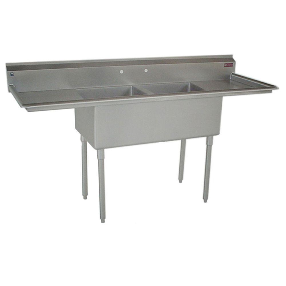 commercial kitchen sink gilbert clock sinks the home depot c series floor mount stainless steel 73 in 2 hole double bowl