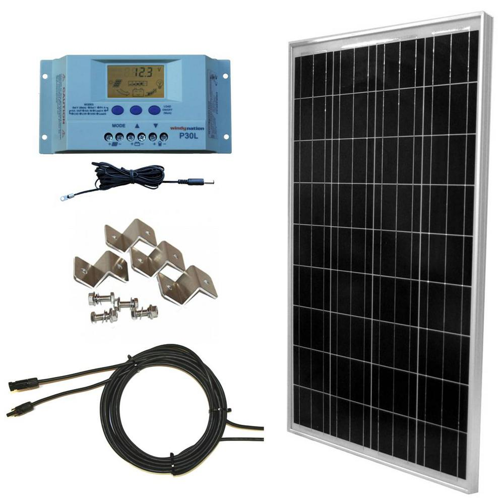 hight resolution of windynation 100 watt 12 volt off grid polycrystalline solar starter wiring the four 12 volt 100w solar panels for 24 volt battery