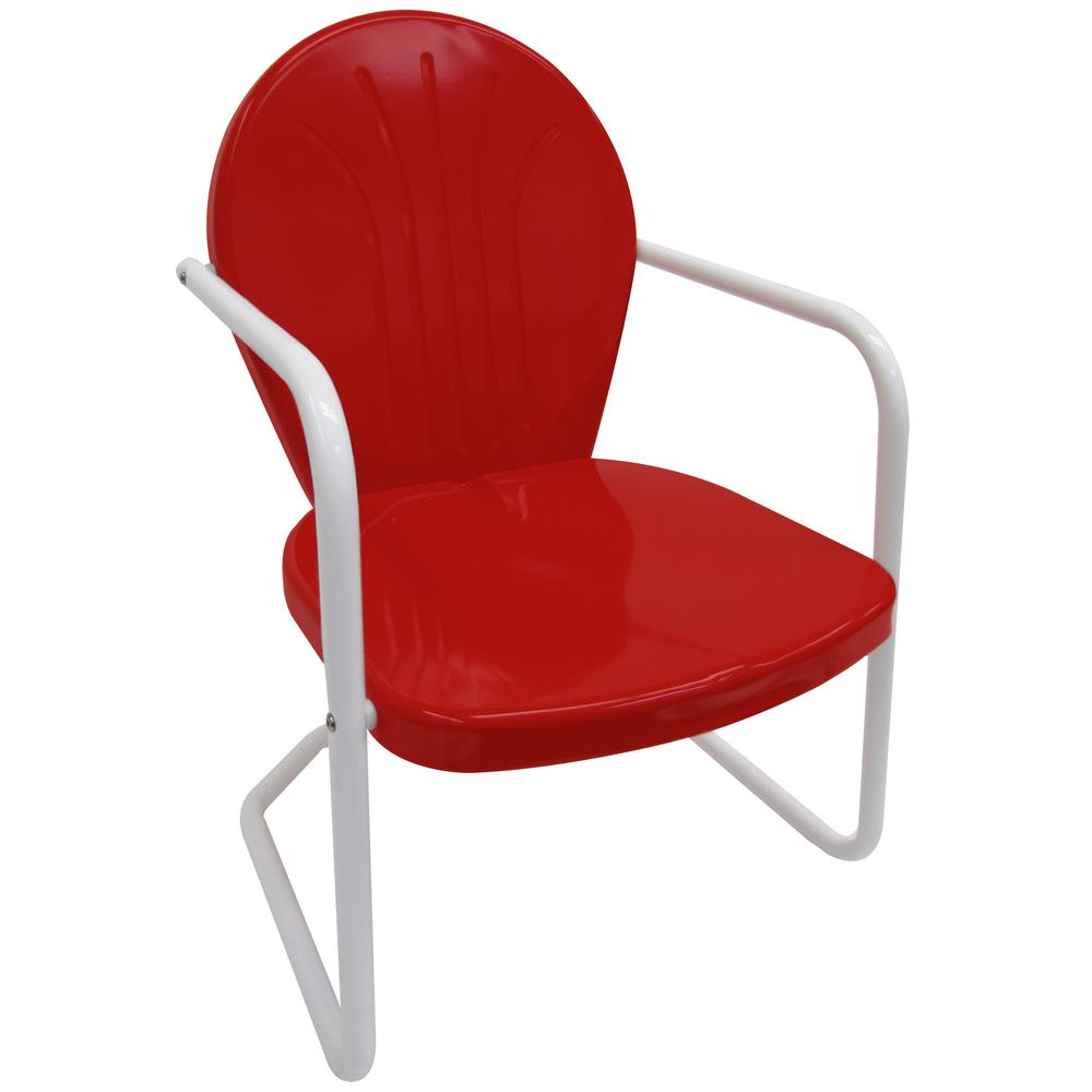 Leigh Country Retro Red Metal Patio Lawn ChairTX 93486