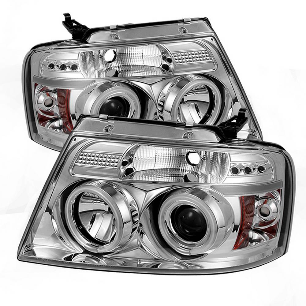 hight resolution of ford f150 04 08 projector headlights version 2 ccfl halo led replaceable leds chrome