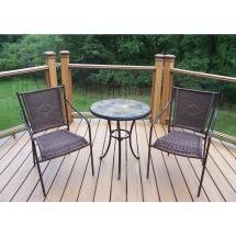 Stone Art Black Wicker 3-piece Outdoor Bistro Set-hd77100t