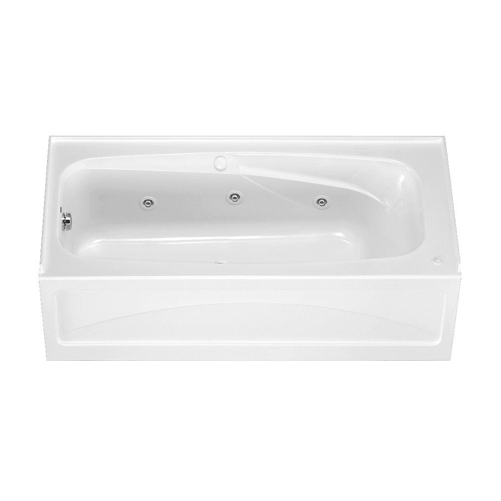 American Standard Colony 55 ft x 32 in Left Drain Whirlpool Tub with Integral Apron in White