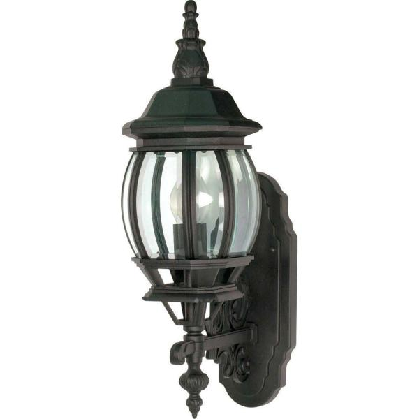Glomar 1-light - 20 In. Wall Lantern With Clear Beveled Glass Textured Black-hd-887 Home Depot
