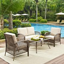 Crosley Tribeca 4-piece Wicker Outdoor Patio Seating Set