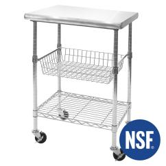 Stainless Steel Kitchen Cart Black Light Fixtures Seville Classics Top Professional Cutting Table Nsf Certified