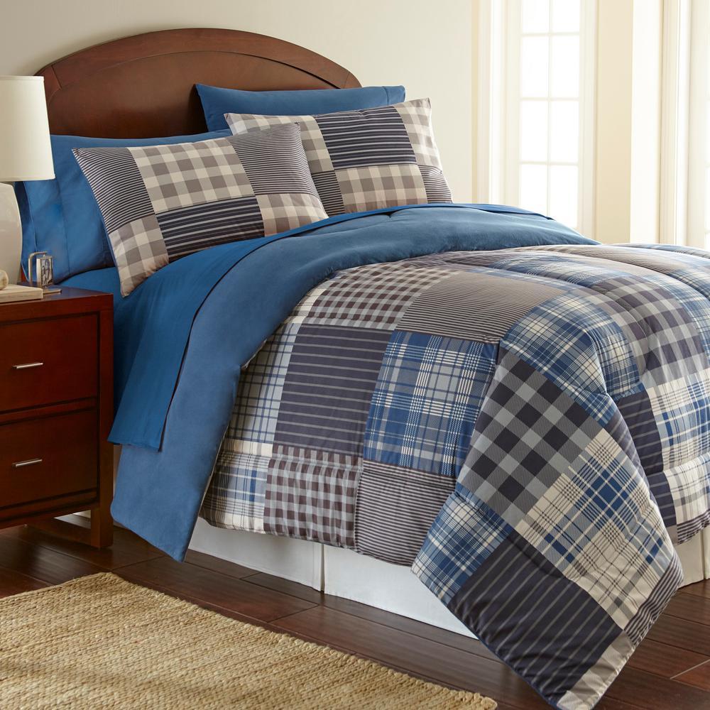 Micro Flannel Smokey Mountain Plaid 3 Piece Twin Comforter