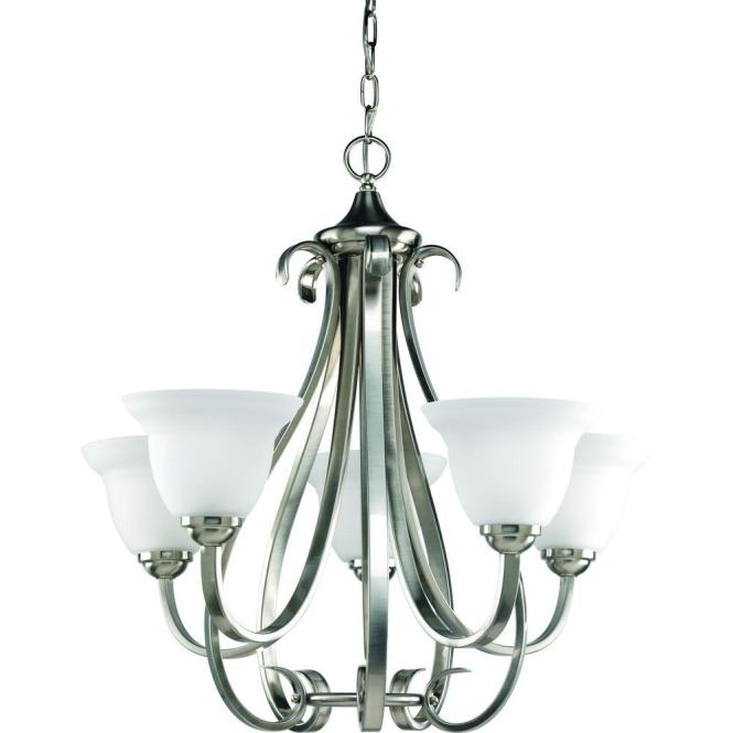Progress Lighting Torino Collection 5 Light Brushed Nickel Chandelier With Etched Glass P4416 09 The Home Depot