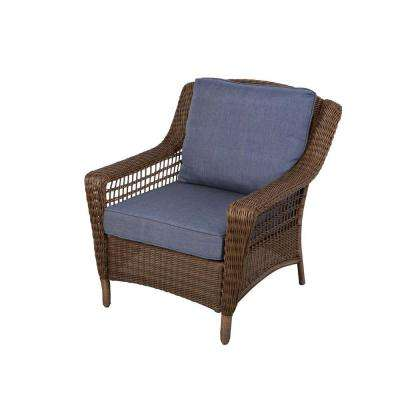 home depot lounge chairs pool outdoor patio the spring haven brown all weather wicker chair with sky blue cushions