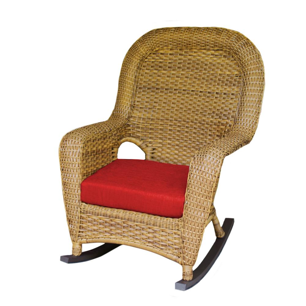 Wicker Rocking Chair Tortuga Outdoor Sea Pines Mojave Wicker Outdoor Rocking Chair With Rave Cherry Cushion