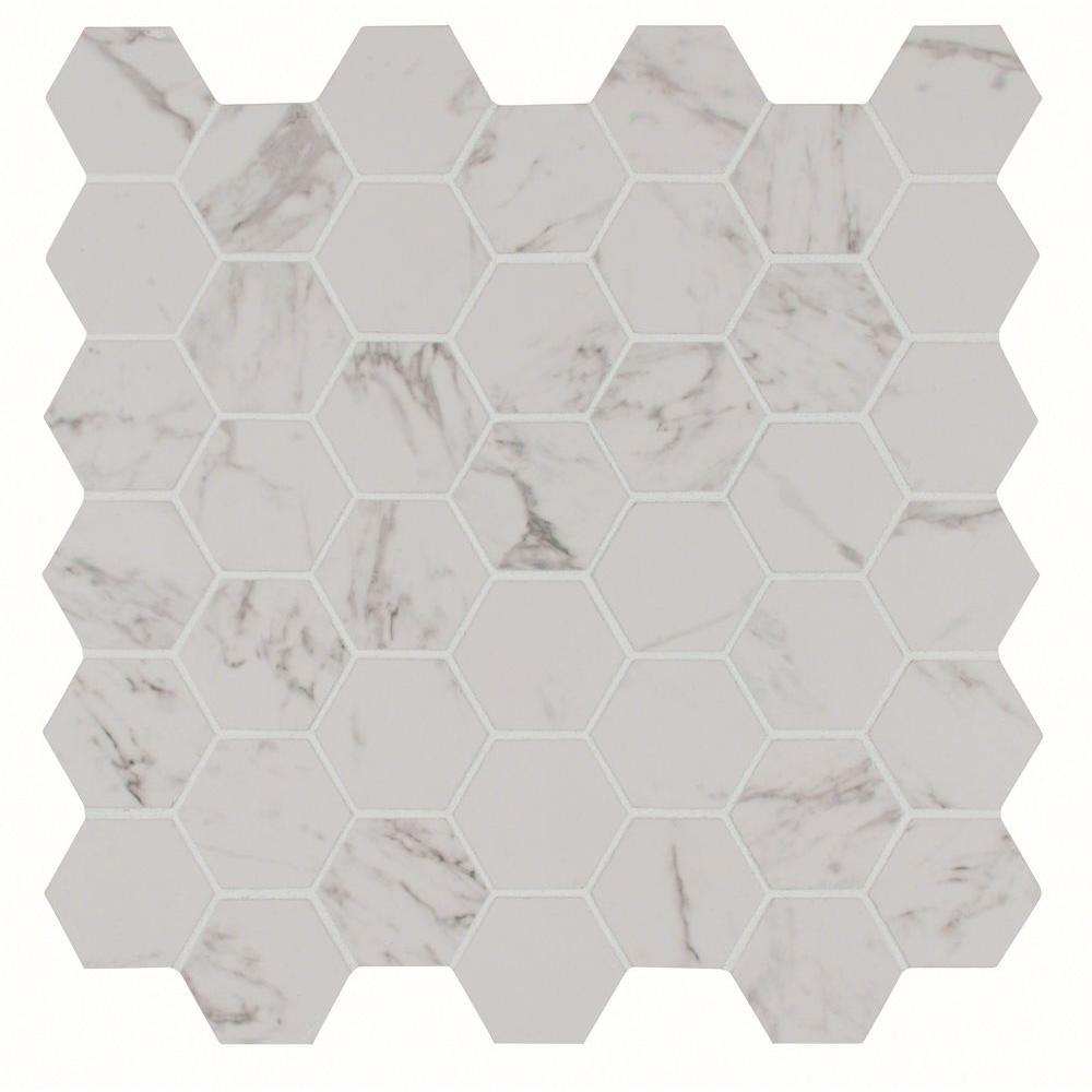 Carrara Hexagon  In X  In X  Mm Glazed Porcelain Mesh Mounted Mosaic Tile  Sq Ft Case