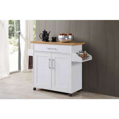 large white kitchen island whisk electric islands carts utility tables the home depot with spice rack and towel holder