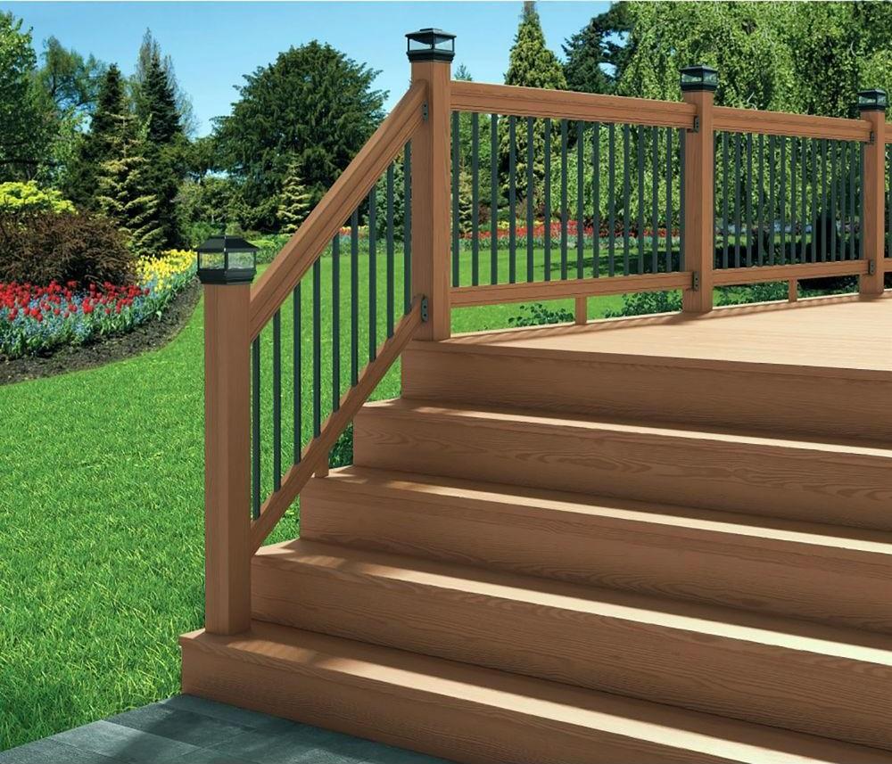 Deckorail 6 Ft Redwood Deck Rail Kit With Black Aluminum | Home Depot Railings For Steps | Metal | Handirail | Stair Parts | Tuffbilt | Front Porch Railings