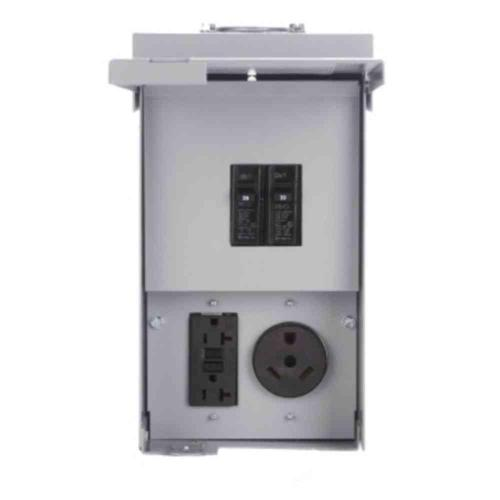 small resolution of eaton power outlet panel un metered chu4n7ns the home depot eaton 30 amp rv power outlet box wiring