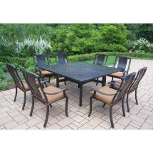 Oakland Living 9-piece Square Aluminum Patio Dining Set