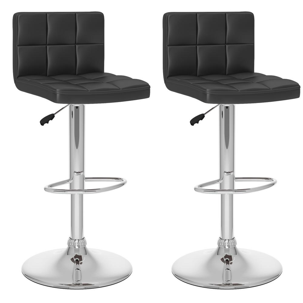 high bar stool chairs chair cushions at pier one corliving adjustable black leatherette back set of 2