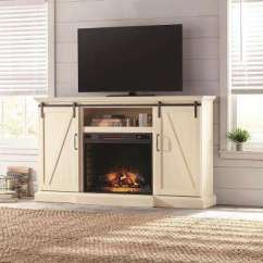 Tv Stand Living Room Big Lots Furniture Stands The Home Depot Electric Fireplace With Sliding Barn Door In Ivory