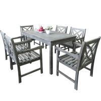 Vifah Bradley 7-Piece Rectangle Patio Dining Set ...