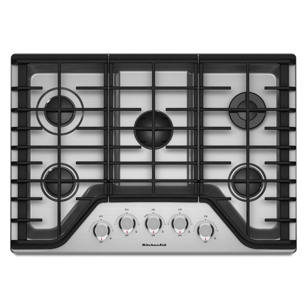 kitchen aid cooktop cabinets phoenix area kitchenaid 30 in gas stainless steel with 5 burners including a multi flame dual tier burner and simmer