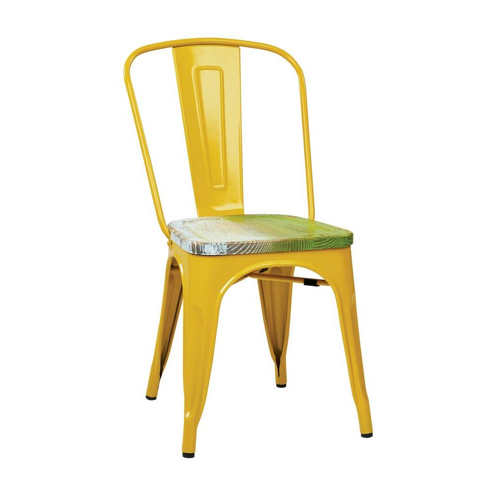 antique metal chairs for sale leopard high heel shoe chair osp designs bristow yellow and pine alice wood side set of 4 brw2910a4 c307 the home depot