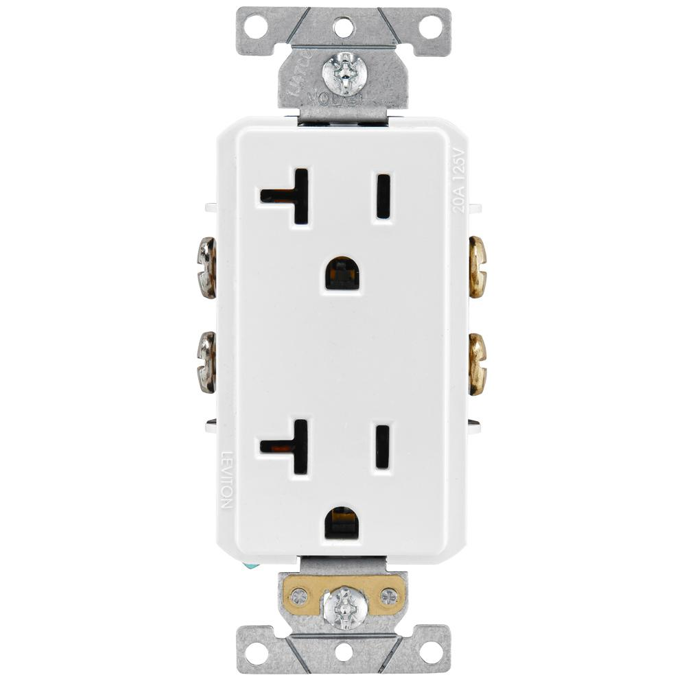 hight resolution of leviton decora plus 20 amp industrial grade duplex outlet white