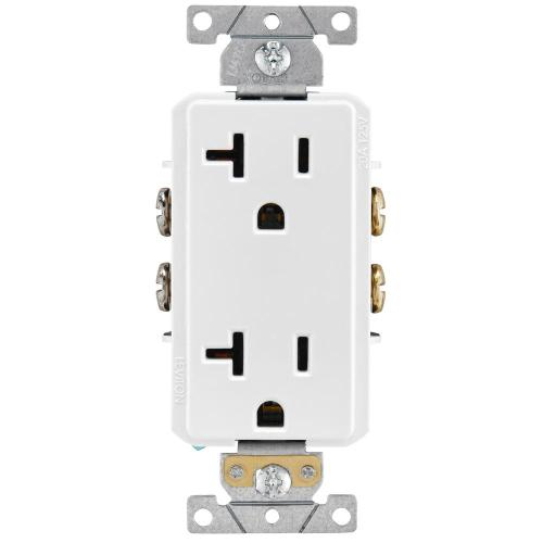 small resolution of leviton decora plus 20 amp industrial grade duplex outlet white